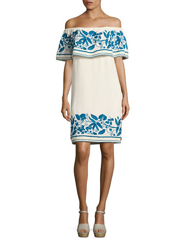 Maison Scotch Embroidered Off-Shoulder Dress-WHITE MULTI-X-Small