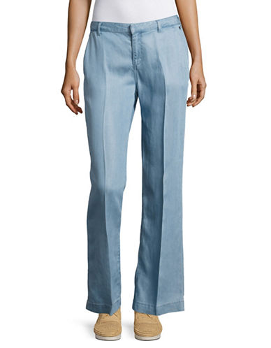 Maison Scotch Wide-Leg Chambray Pants-BLUE-Small