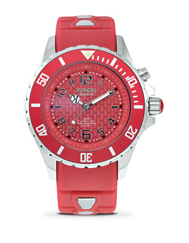 Kyboe! Power Spice Silvertone Analog Watch-RED-One Size