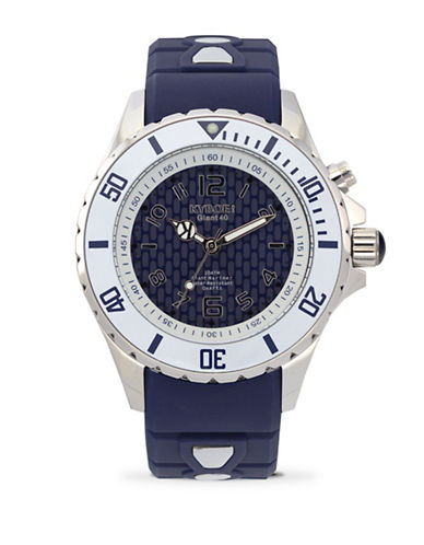 Kyboe! Power Analog Stainless Steel Marine Voyager Silicone Strap Watch-BLUE-One Size