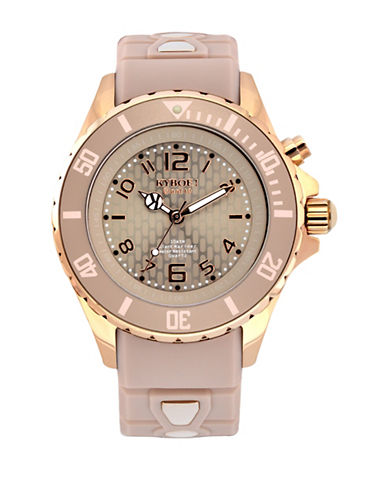 Kyboe! Analog Power Rose Goldtone Silicone Strap Watch-PINK-One Size