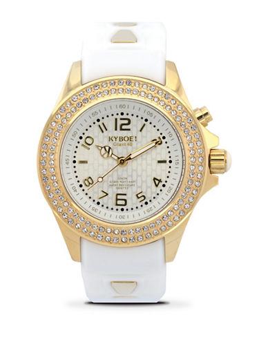 Kyboe! Radiant Goldtone Embellished Analog Watch-WHITE-One Size