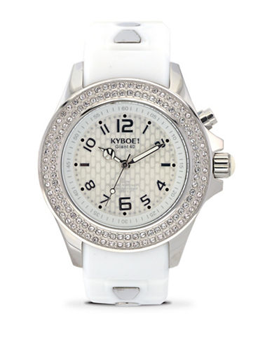 Kyboe! Radiant Crystal Pave Silicone Analog Watch-WHITE-One Size