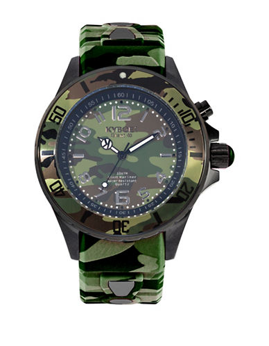 Kyboe! Analog Camo Stainless Steel Silicone Strap Watch-GREEN-One Size