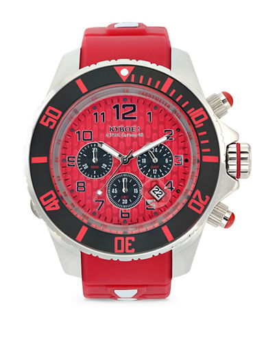 Kyboe! Empire Collection Chronograph Silicone Strap Watch-RED-One Size