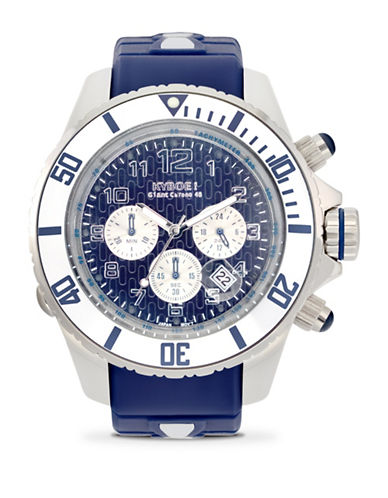 Kyboe! Empire Silver Sea Chronograph Watch-BLUE-One Size
