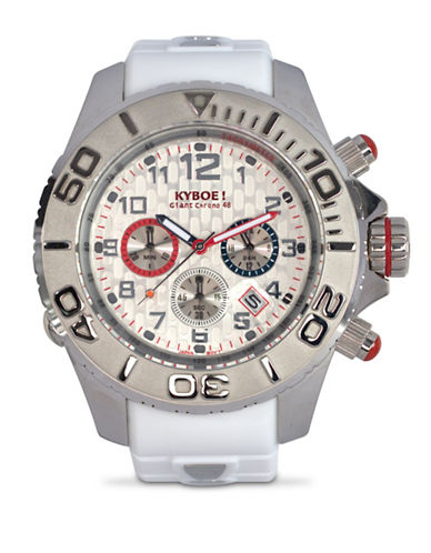 Kyboe! Empire Silvertone Chronograph Watch-WHITE-One Size