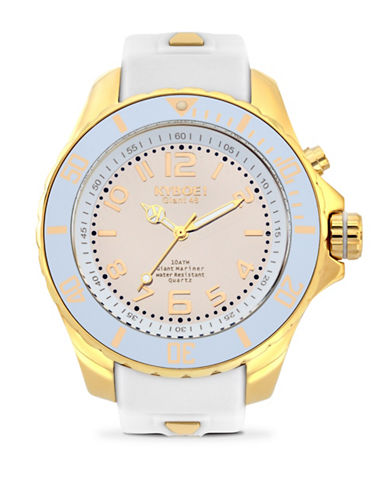 Kyboe! Power Goldtone Reflector Analog Watch-WHITE/GOLD-One Size