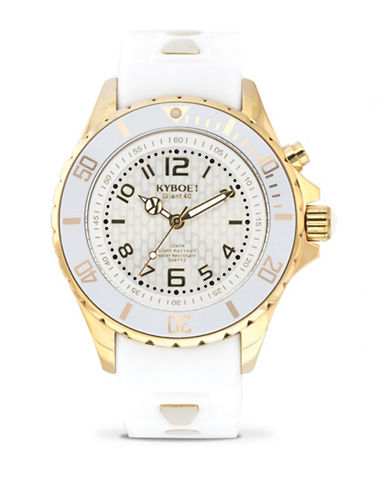 Kyboe! Power Ghost Goldtone Analog Watch-WHITE-One Size