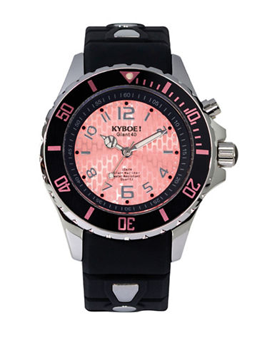 Kyboe! Analog Power Stainless Steel Silicone Strap Watch-SILVER-One Size