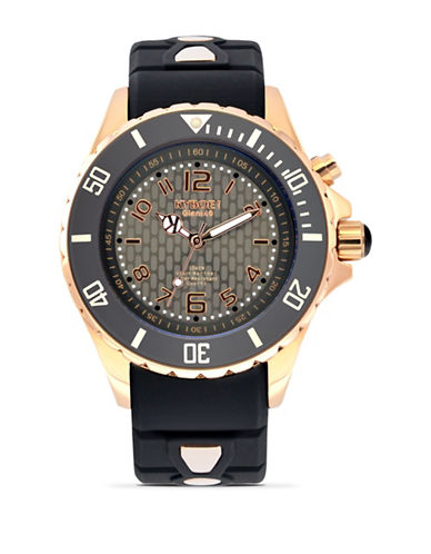 Kyboe! Power Rose Goldtone Night Analog Watch-BLACK/ROSE GOLD-One Size