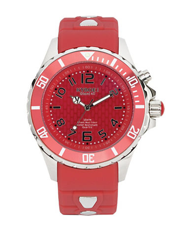 Kyboe! Analog Power Stainless Steel Silicone Strap Watch-RED-One Size