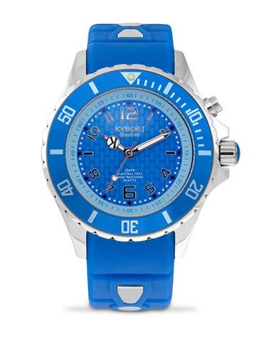 Kyboe! Power Sapphire Silvertone Analog Watch-BLUE-One Size
