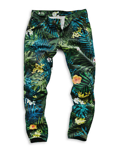 G-Star Raw Elwood X25 Tropical Print Jeans-GREEN-31X32