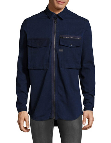 G-Star Raw Type C Zip Overshirt-BLUE-X-Small