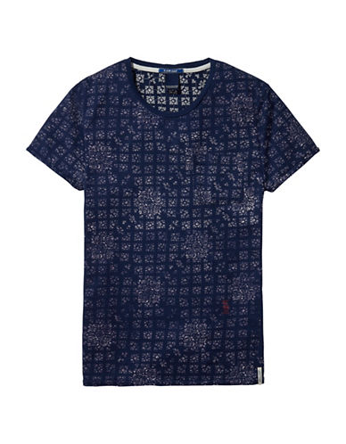 Scotch And Soda Regular-Fit Printed Tee-BLUE-Large