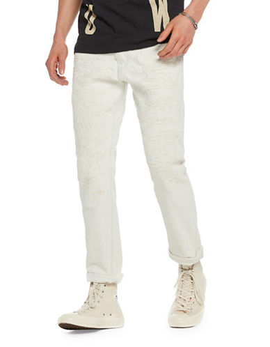 Scotch And Soda Ralston Slim Straight Cotton Jeans-WHITE-31X34