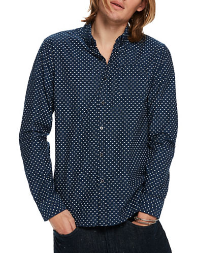 Scotch And Soda Slim-Fit Printed Button-Down Cotton Shirt-BLUE-X-Large
