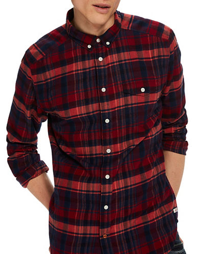 Scotch And Soda Brushed Flannel Button Down Cotton Shirt-RED-X-Large