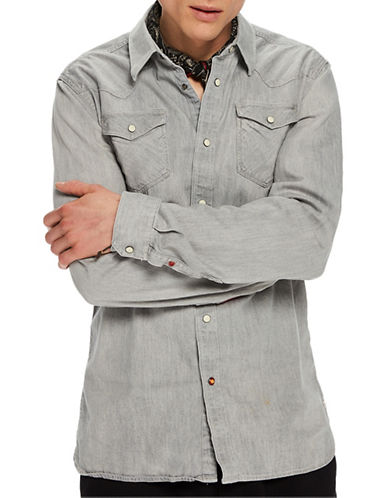 Scotch And Soda Cotton Western Jacket-GREY-Small