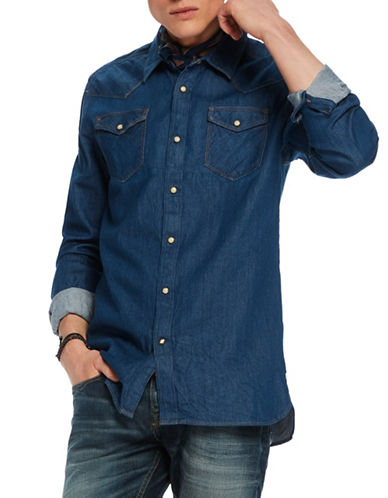 Scotch And Soda Cotton Western Jacket-BLUE-Medium