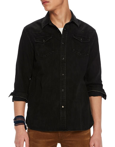 Scotch And Soda Cotton Western Jacket-BLACK-Small