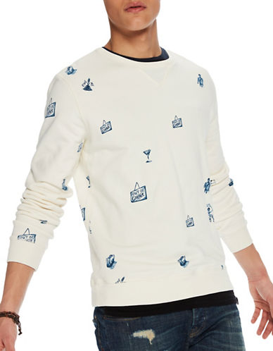 Scotch And Soda All-Over Print Cotton Sweatshirt-BLUE-Large