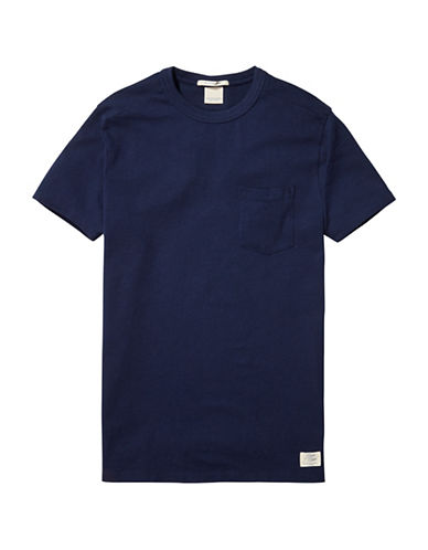 Scotch And Soda Home Alone Longer Line Sports Cotton Tee-BLUE-Medium
