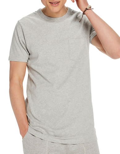 Scotch And Soda Home Alone Longer Line Sports Cotton Tee-GREY-Medium