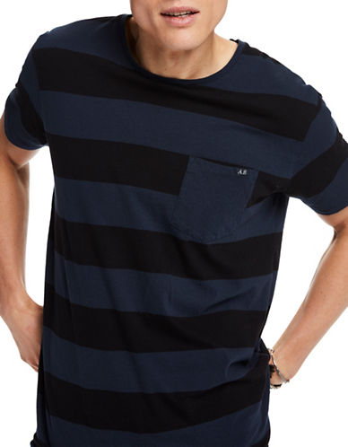Scotch And Soda Seasonal Stripes Cotton Tee-BLUE-Large