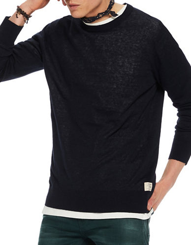 Scotch And Soda Home Alone Regular-Fit Knit Tee-BLACK-Medium
