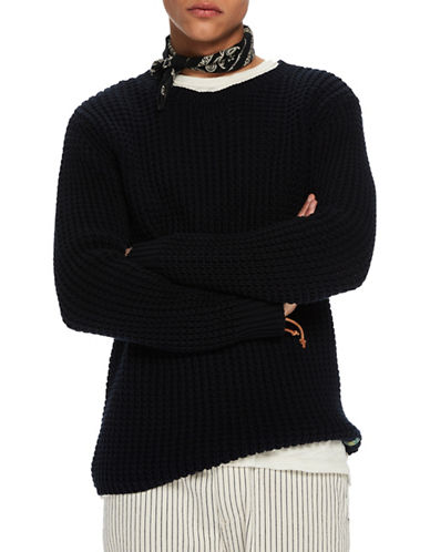 Scotch And Soda Chunky Waffle Knit Cotton Sweater-BLACK-XX-Large