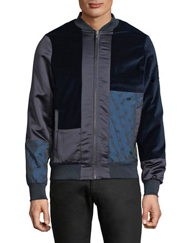 Scotch And Soda Colourblocked Bomber Jacket-BLUE-Small