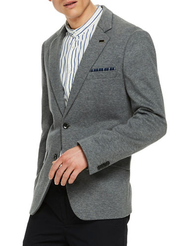 Scotch And Soda Classic Knitted Cotton Blazer-GREY-X-Large