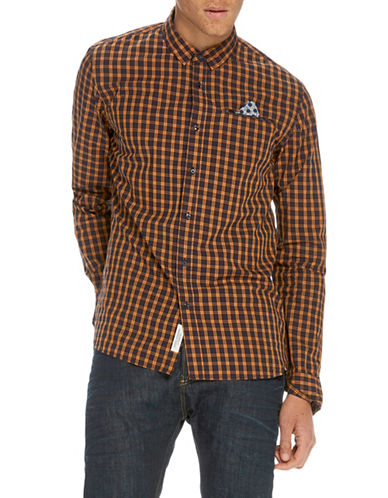 Scotch And Soda Classic Long Sleeve Cotton Shirt-ORANGE-X-Large
