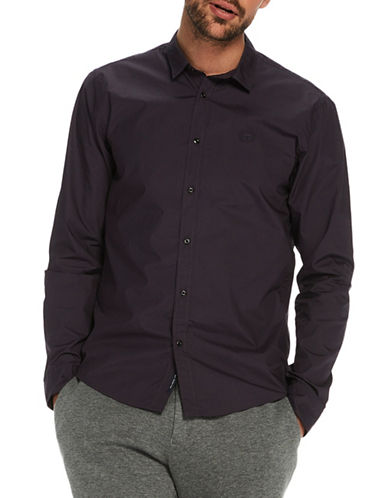 Scotch And Soda Crispy Poplin Cotton Shirt-PURPLE-X-Large