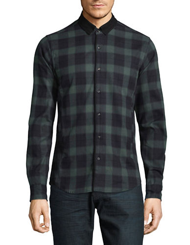 Scotch And Soda Checkered Cotton Sport Shirt-BROWN-Large