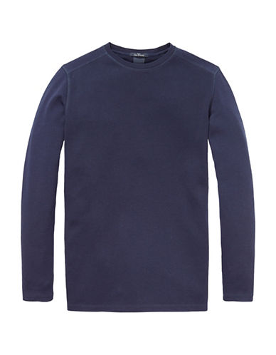 Scotch And Soda Long Sleeve Crew Neck Cotton Tee-BLUE-XX-Large