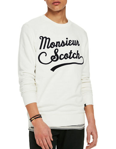 Scotch And Soda Clean Felpa Crew Neck Sweatshirt-WHITE-XX-Large