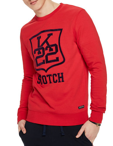 Scotch And Soda Clean Felpa Crew Neck Sweatshirt-RED-Medium