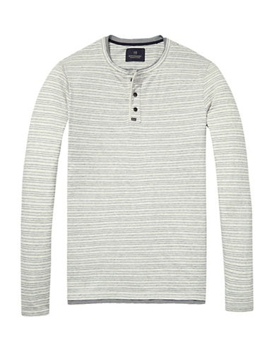 Scotch And Soda Grandad Long Sleeve Cotton Henley-GREY-Large