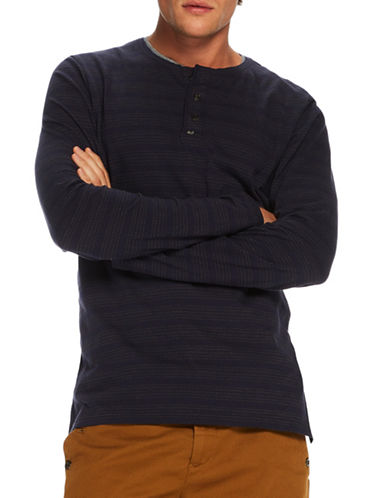Scotch And Soda Grandad Long Sleeve Cotton Henley-BLUE-Large