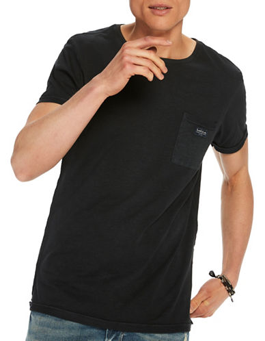 Scotch And Soda Garment Dyed Cotton Tee-BLACK-Small