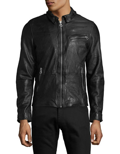 Scotch And Soda Leather Shirt Jacket-BLACK-Small