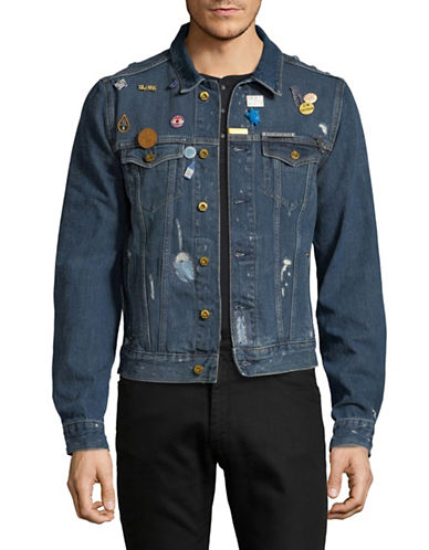 Scotch And Soda Ripped Pin Denim Trucker Jacket-BLUE-Small