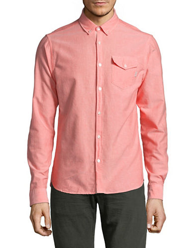 Scotch And Soda Clean Oxford Sport Shirt-ORANGE-Small