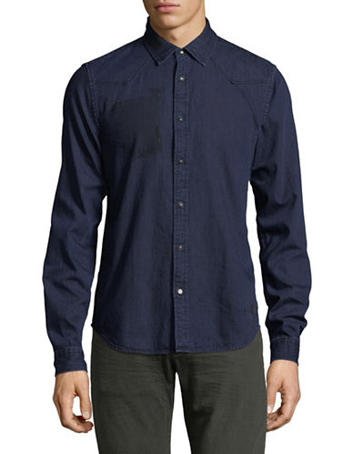 Scotch And Soda Faded Denim Sport Shirt-NAVY-Large