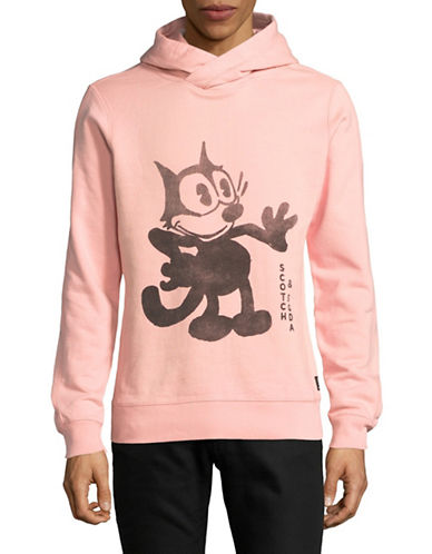 Scotch And Soda Felix Graphic Cotton Hoodie-PINK-Small