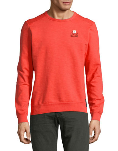 Scotch And Soda Garment Dyed Cotton Sweater-RED-Medium