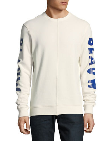 Scotch And Soda Cut and Sew Text Sweater-WHITE-XX-Large